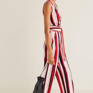 Mango long flowy striped jumpsuit